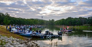 Day 1 launch saw the All-Star team of the FLW Tour and Bassmaster Elites ready to roll. Photo by Joel Shangle.