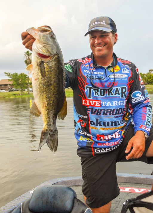 "If Garmin pro Scott Martin is in the Cup field, he's automatically a threat to win. Doesn't matter what fishery it's on. The 2011 FWC champ has matured into maybe the best ""big-game player"" on Tour, with four Top 10s in the last five FWCs. Photo by Joel Shangle."