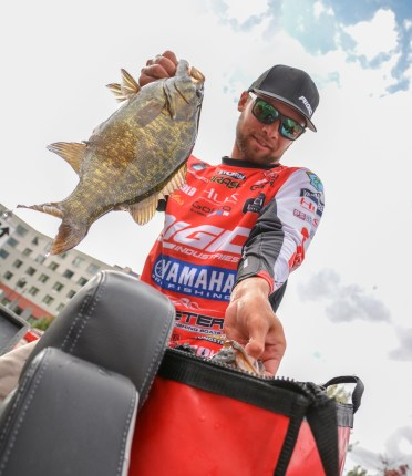 Rigid Industries pro Brandon Palaniuk bags up a pair of 5-pounders on Day 2. Photo by Joel Shangle.