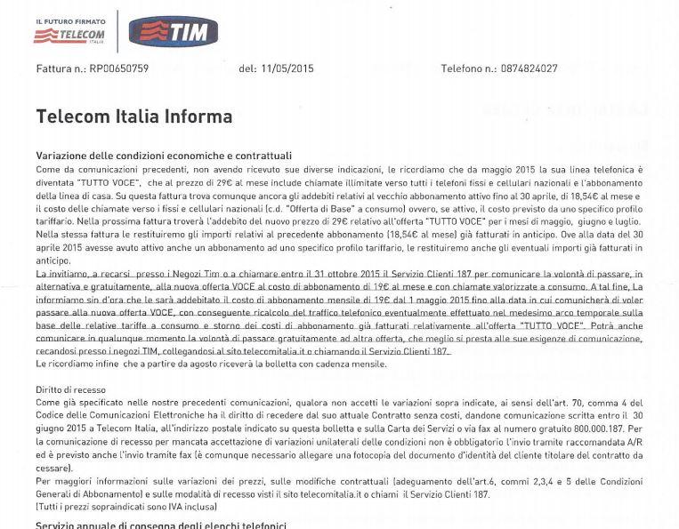Awesome Fattura Telecom Info Costi Recesso