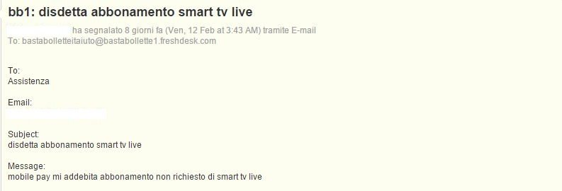 mobile pay mi addebita abbonamento non richiesto di smart tv live