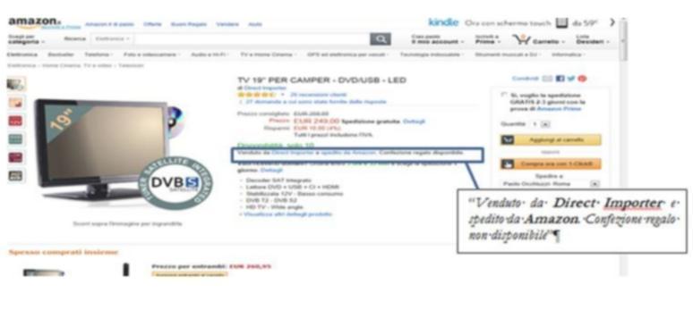 esempio di vendita da parte di terzi con spedizione da parte di Amazon.