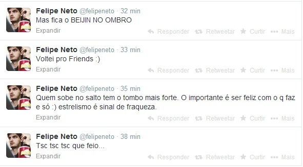 Sequência de tuites postados por Felipe Neto.