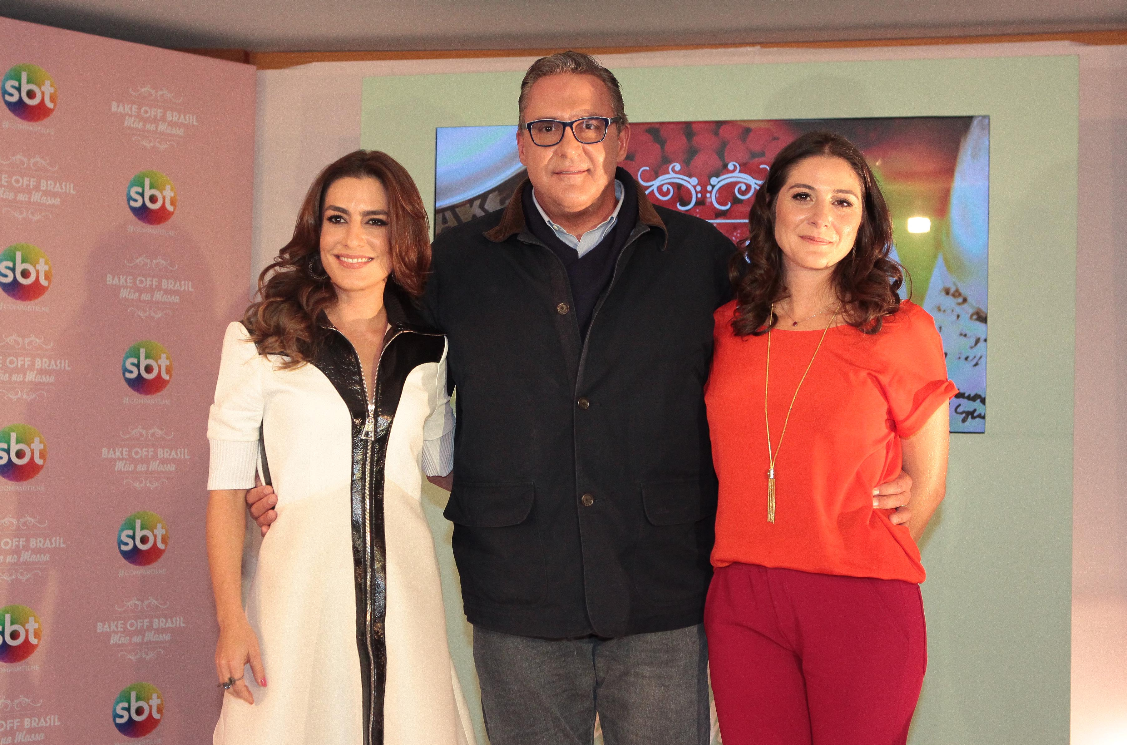 """Ticiana, Fabrizio e Carolina comandam o """"Bake Off Brasil - Mão na Massa"""" (Foto: Divulgação)"""