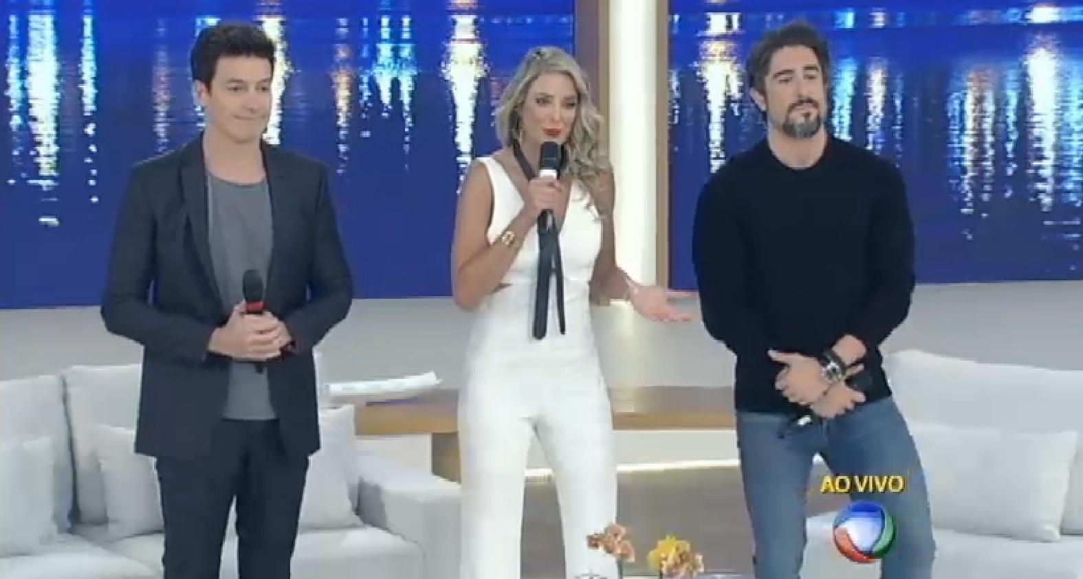 Rodrigo Faro, Ticiane Pinheiro e Rodrigo Faro substituíram Xuxa na última segunda. Foto: Reprodução