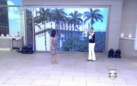 """Mônica Iozzi e Fátima Bernardes no cenário do """"Encontro"""" e do """"Vídeo Show"""". Foto: Reprodução"""