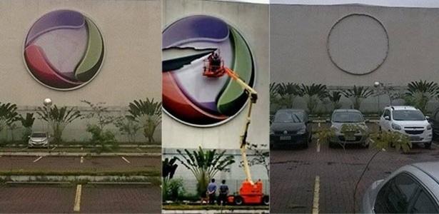 Funcionários retiram o logotipo da Record do RecNov. Foto: Reprodução