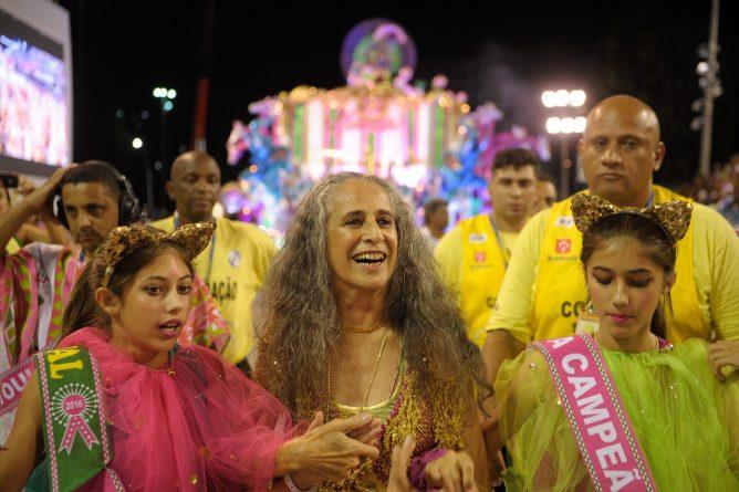 Rio de Janeiro - Mangueira, a grande vitoriosa do carnaval foi a última escola a se apresentar na Marquês de Sapucaí, no desfile das campeãs, com o enredo sobre a Maria Bethânia (Tomaz Silva/Agência Brasil)