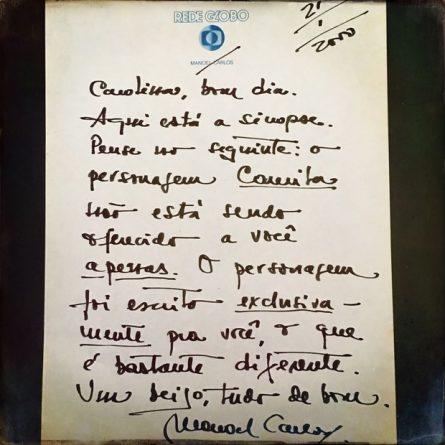 Carolina Dieckmann relembra carta escrita por Manoel Carlos (Foto: Reprodução/Instagram)