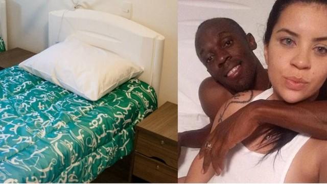 Foto na cama com carioca foi feita num quarto da Vila Olímpica. Foto: Divulgação e Reprodução