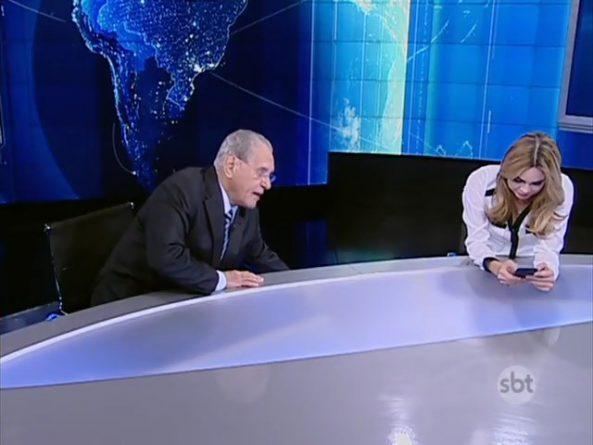 """Estúdio do """"SBT Brasil"""" acabou vazando durante a exibição de """"Chaves"""". Foto: Reprodução/SBT"""