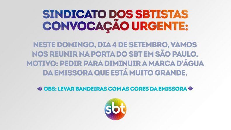 Imagem da convocação para o protesto na porta do SBT no domingo. Foto: Reprodução/Redes Sociais