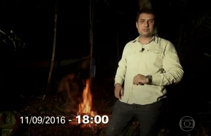 Edson Ferraz e equipe passaram uma noite na Floresta Amazônica (Imagem: Reprodução/G1/TV Globo)