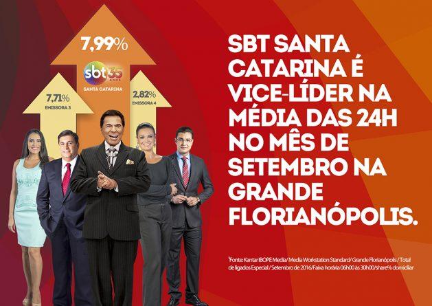 SBT SC conquista a vice nas 24h na Grande Florianópolis e em outras importantes cidades de SC. Troca de emissora não fez muito bem para a RIC ( Rede SC).