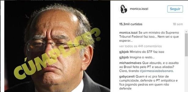Publicação de Monica Iozzi com críticas a Gilmar Mendes. (Foto: Reprodução/Instagram)