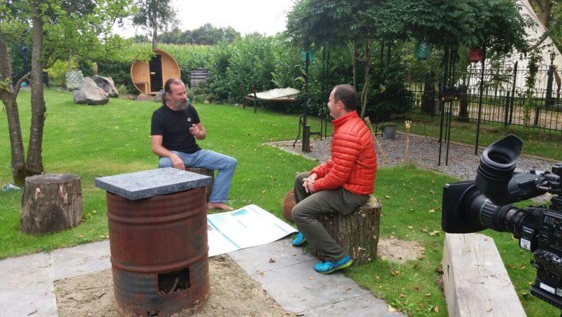 Clayton Conservani entrevista Wim Hof na Holanda. Foto: Globo/Rafael Freitas