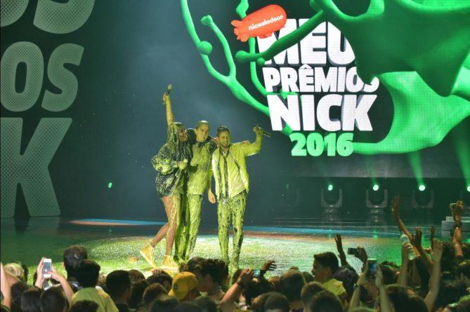 Ludmilla, Christian Figueiredo e Zé Felipe levam banho de slime no encerramento da festa. Foto: Divulgação/Nickelodeon