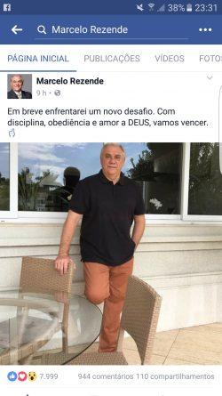 Rezende deixa internet curiosa com postagem no Facebook.