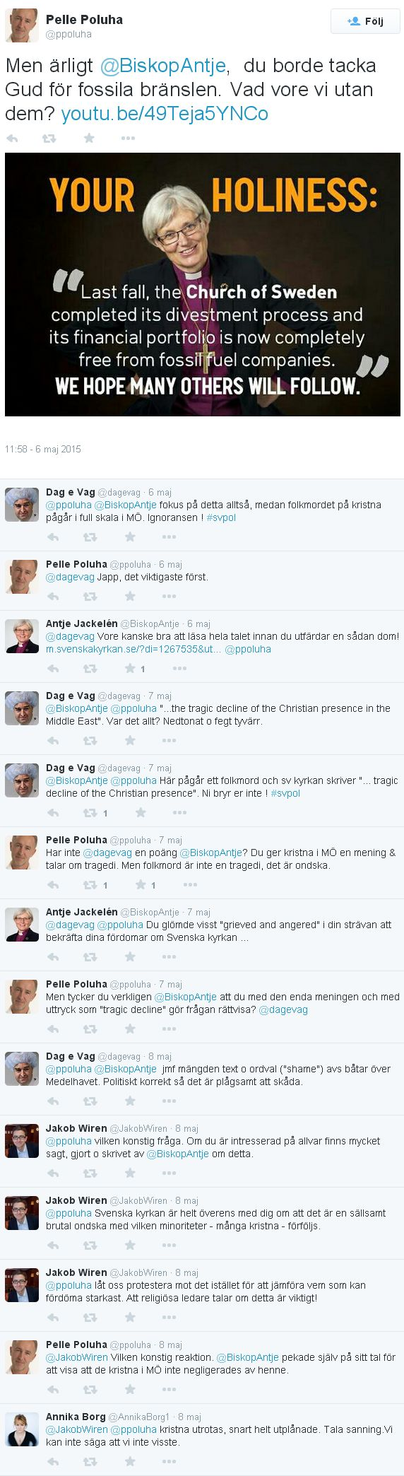 Twitterdiskussion med Biskop Antje