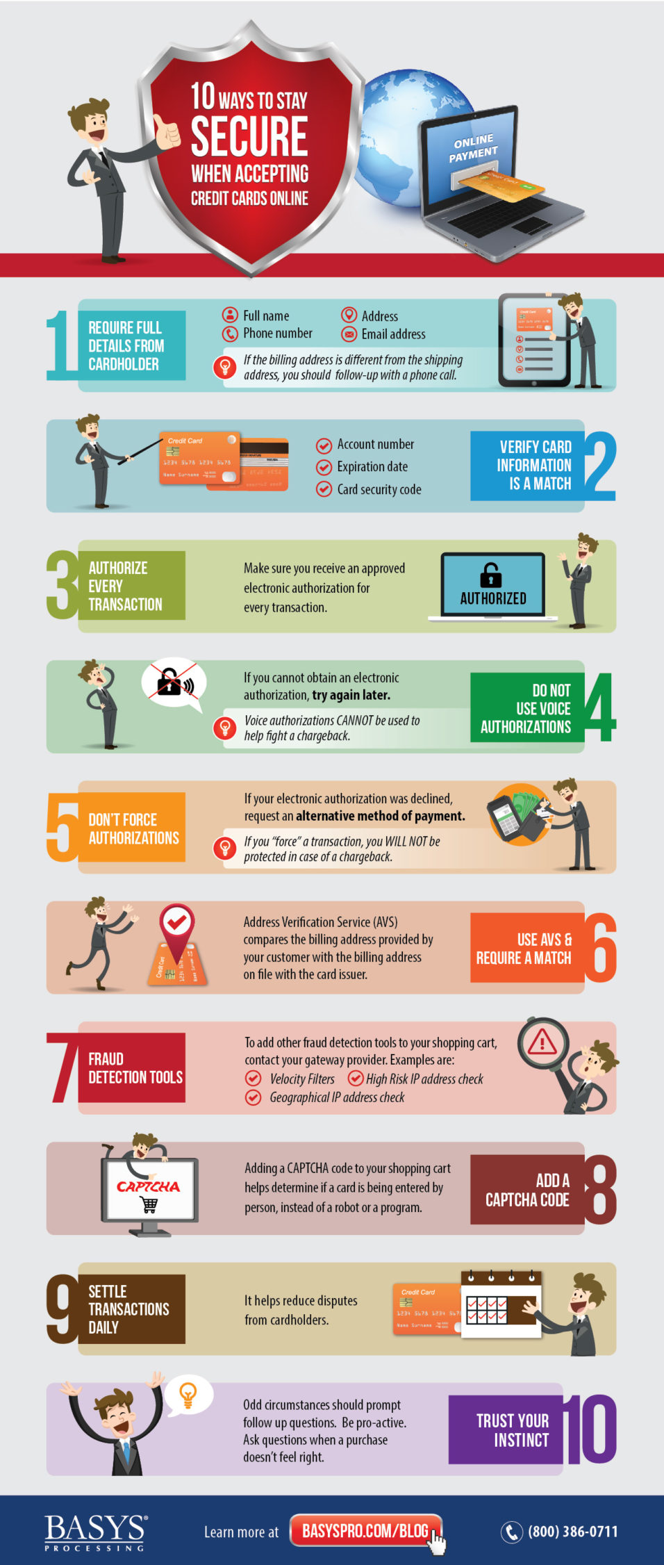 BASYS Processing 10 Ways to Stay Secure when Accepting Credit Cards Online infographic