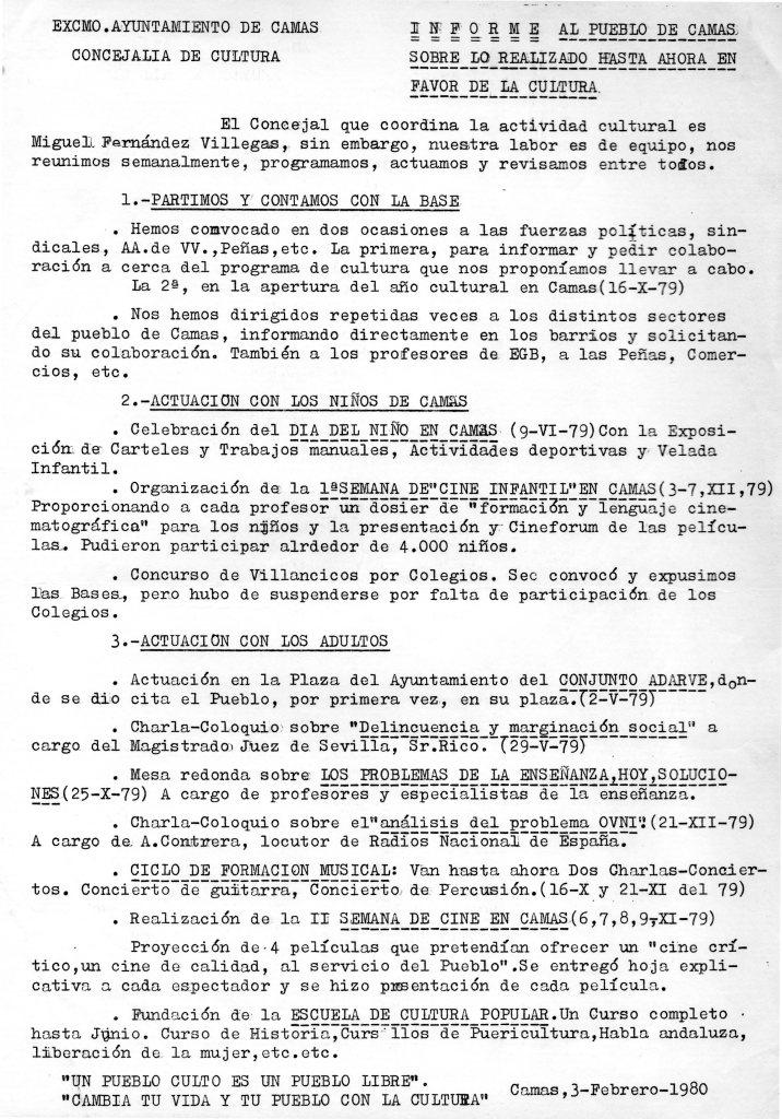 Informe Delegación de Cultura 1980