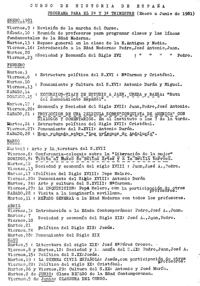 Programa de la Escuela de Cultura Popular. Enero-Junio de 1981 (-el 23 F golpe de Tejero-)