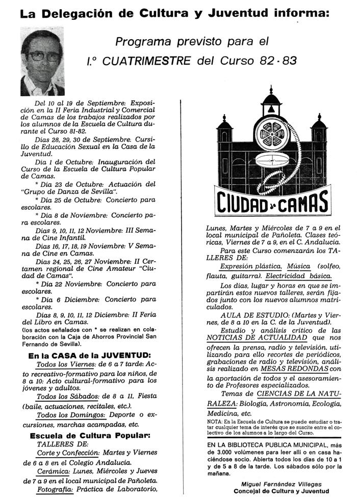 Información de la E.C.P. Boletín Informativo Municipal. Programa 82-83