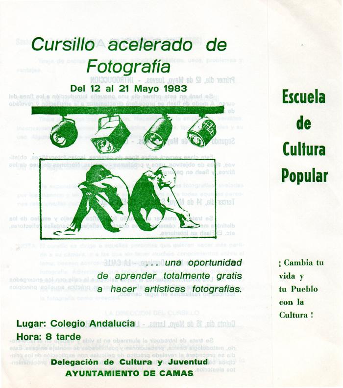 Programa de Actividades de la Escuela de Cultura Popular (A) 1983. Cursillo de Fotografía.