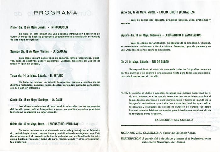Programa de Actividades de la Escuela de Cultura Popular (B) Cursillo de Fotografía. 1983.