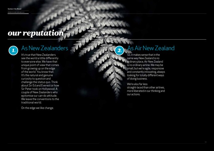 Air New Zealand Brand Guidelines Page 9