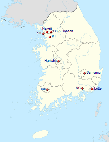 Baseball Team Map : baseball, Favourite, League:, Korean, Baseball, Organization, (KBO), Flips, Nerds