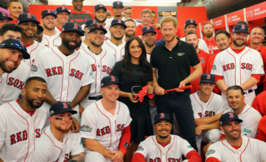 Harry and Meghan with Boston Red Sox