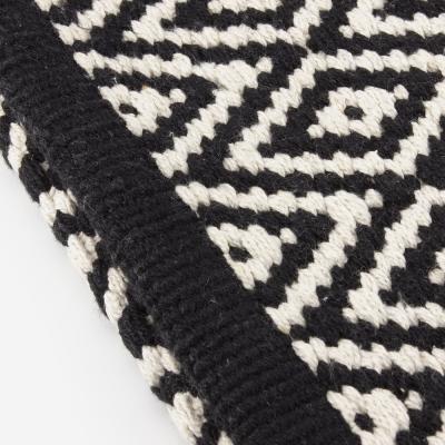 tapis de bain noir et blanc losange