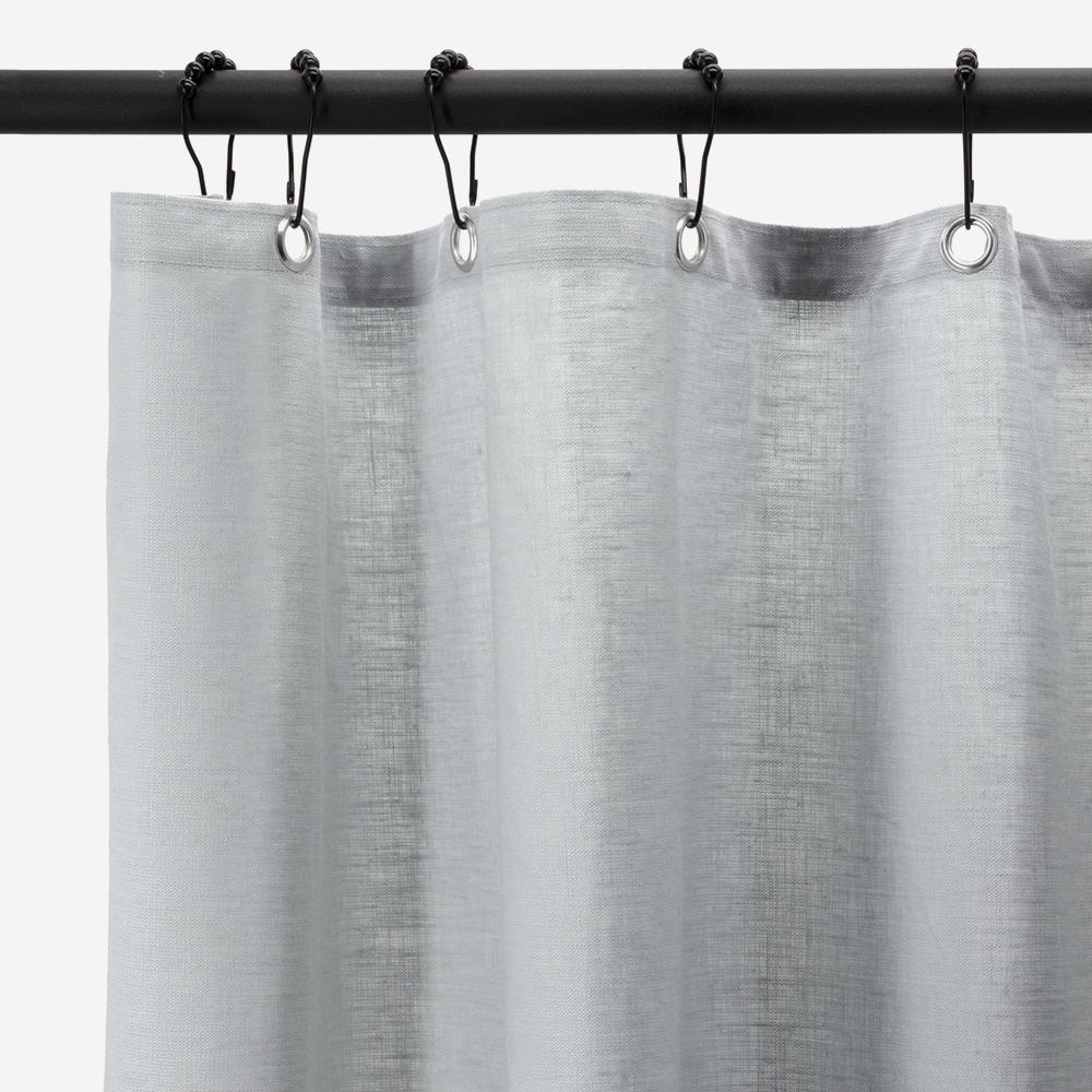 rideau de douche en lin enduit gris perle 210 x 200 cm lino bath bazaar