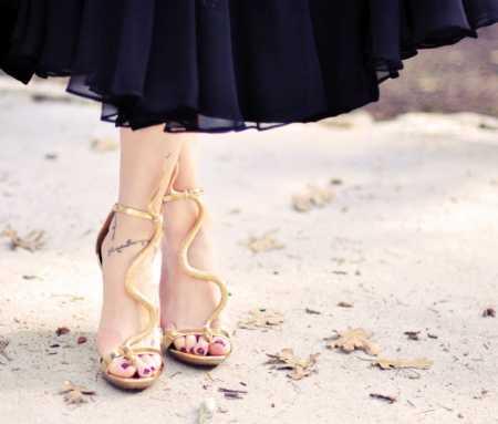 diy-snake-sandals-gold-shoes