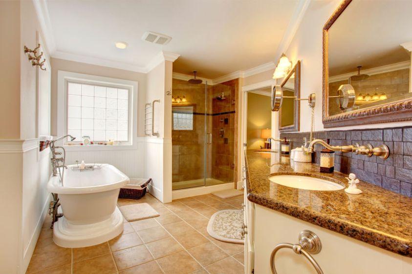 Luxury bathroom interior.