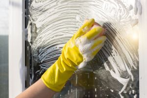Hand cleaners in rubber glove washes .