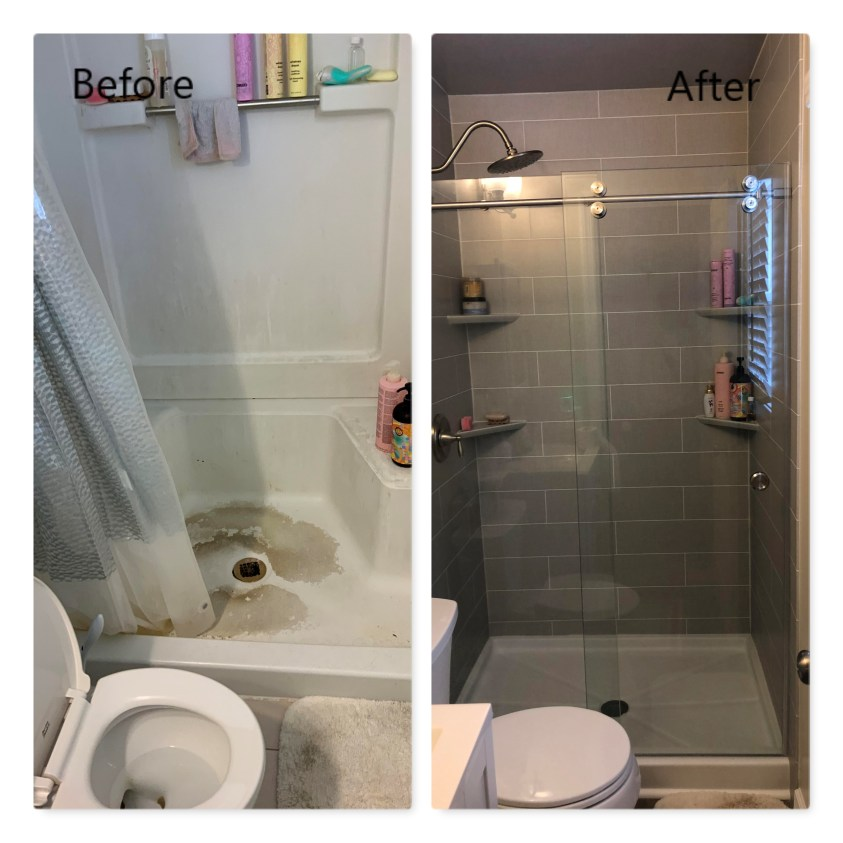 shower remodeling, before and after
