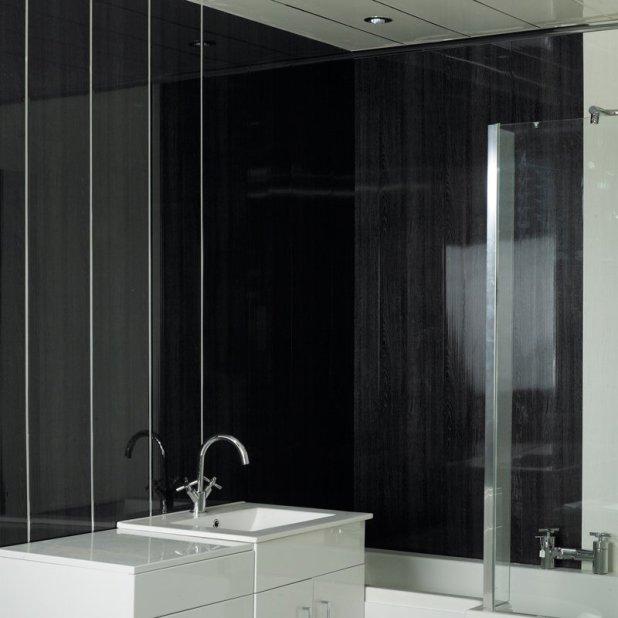Wood Cladding Bathroom Walls: Black Bathroom Ceiling Cladding