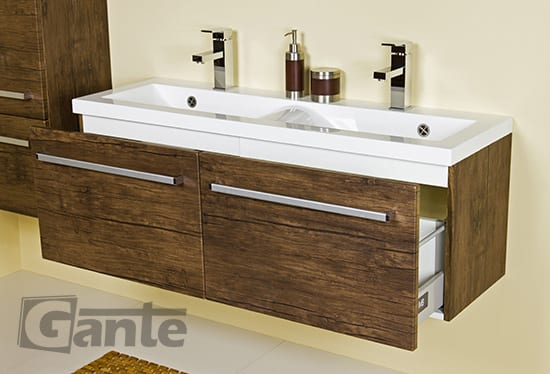Vanity unit 120 cm antique wood double sink