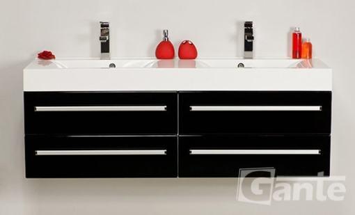 vanity unit 140 cm black double sink