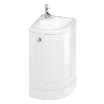 Burlington Freestanding 43cm Corner Vanity Unit & Basin- Matt white
