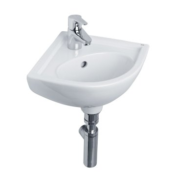 Essential Lily Corner Cloakroom Basin, 360mm Wide, 1 Tap Hole