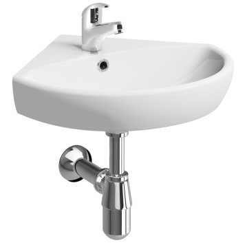 Twyford E100 Round 500mm 1TH Corner Basin