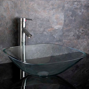 Large Square Clear Glass Counter Mount Bathroom Basin 420mm PADOVA