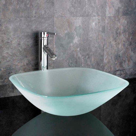 Large Square Frosted Glass Above Counter Bathroom Basin 420mm PADOVA