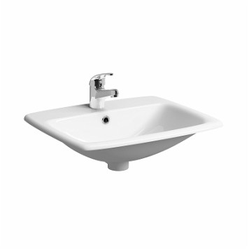 Twyford E100 Square Countertop Ceramic Basin 550mm, 1 Tap Hole