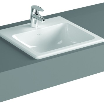Vitra S20 Compact Countertop Ceramic Basin 550mm, 1 Tap Hole