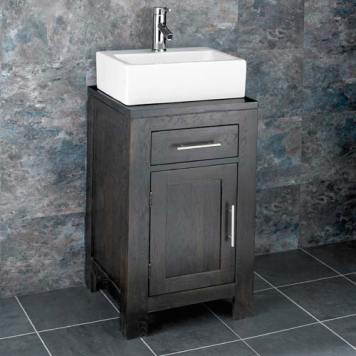 Dark Oak Bathroom Cabinet and Rectangular Basin Bundle White Ceramic Sink with Chrome Tap and Waste Alta