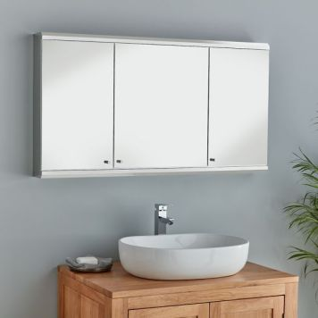 Extra Large Bathroom Mirror Cabinet Three Door 1200mm x 550mm Stainless Steel Cabinet Biscay